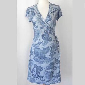 Athleta Wrap Dress Blue Cap Sleev Fit-Flared Sz M